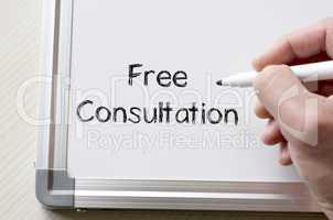 Free consultation written on whiteboard
