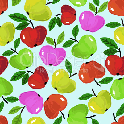 Apple seamless pattern, fruit vector background. Food nature illustration.