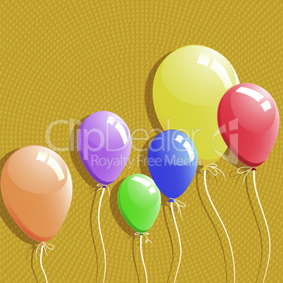 Balloon background, birthday card, design element, vector illustration.