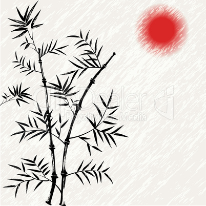 Bamboo japanese vector asian illustration