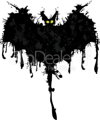 Bat ink. Happy Halloween card. Vector illustration