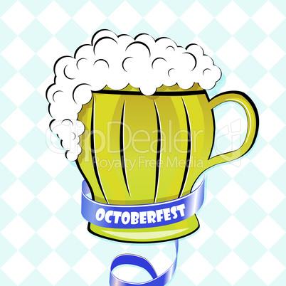 Oktoberfest background. Bavarian pattern. Vector beer wallpaper.