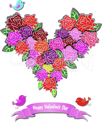 Fower love heart valentine day vector with bird and ribbon. Floral design. Pretty cute illustration. Wedding background.