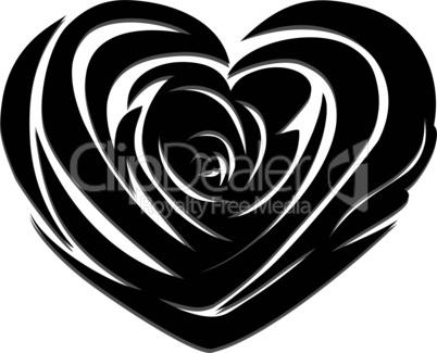 Flower love heart valentine day vector tattoo. Floral design. Pretty cute illustration.