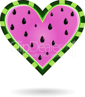 Watermelon fruit heart love pattern. Vector valentine's food background seed texture.