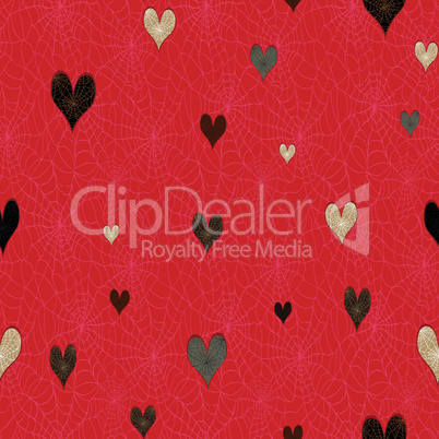 Seamless watermelon fruit heart love pattern. Vector valentine's food background seed texture.