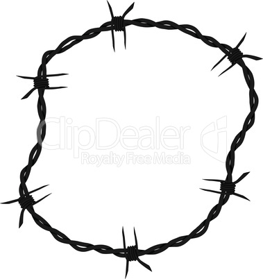 Barbed wire circle frame background. Vector fence illustration isolated on white. Protection concept design.