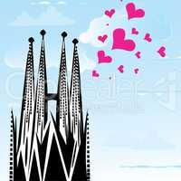 I love town city Barcelona, Spain, vector heart illustration of Sagrada Familia