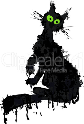 Halloween cat ink silhouette. Vector animal kitty isolated on white.