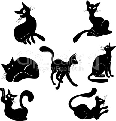 Black cat icon silhouette collection. Vector animal set sketch kitty logo isolated on white.
