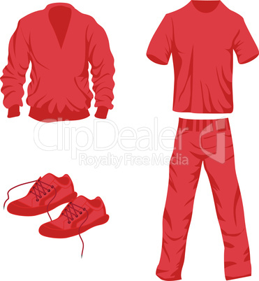 Clothes icon fashion set collection vector silhouette of t-shirt, pants, sweater, shoe, trousers