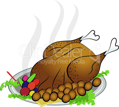 roasted turkey for happy thanksgiving day vector illustration.