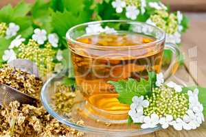 Tea viburnum flowers in glass cup on wooden board