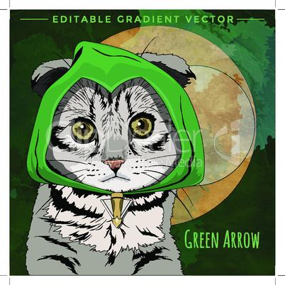 Cats superheroes. Green Arrow