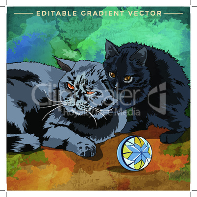 Cat and kitten. Vector illustration of a cat at home.