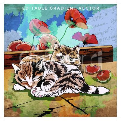 Funny Kittens Illustration. Vector illustration of a cat at home.
