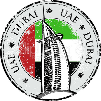 Grunge stamp with the flag and town Dubai, emirate of United Arab Emirates vector illustration.