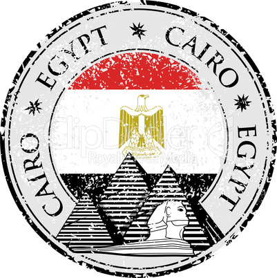 Grunge rubber stamp with Pyramid and the word Cairo, Egypt inside, vector illustration