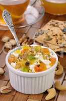 Cottage cheese with jam and marmalade