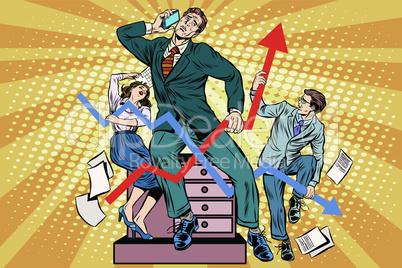 Businessmen and sales schedules
