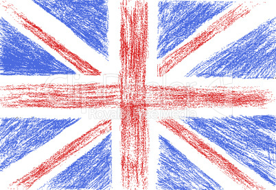 Flag of UK, pencil drawing vector illustration