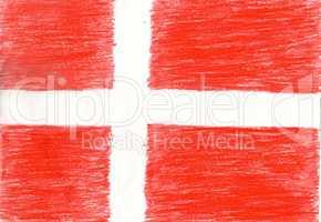 Denmark flag, pencil drawing illustration kid style photo image
