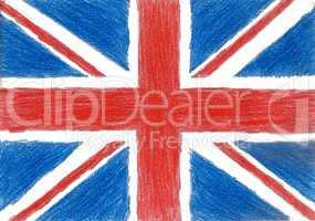 Britain flag, pencil drawing illustration kid style photo image