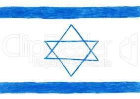 Israel flag, pencil drawing illustration kid style photo image the  Star of David