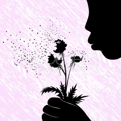 Girl women or kid blowing on dandelion flower vector illustration on grunge background. People child fun.