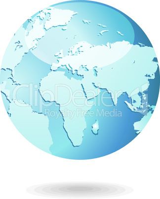 World Map and Globe Detail Vector Illustration icon EPS 10.