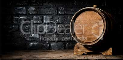 Wooden cask and bricks