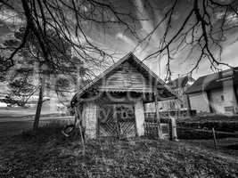 Spooky cottage in black and white