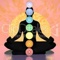 Seven chakra symbols column on black human being by sunset - 3D render