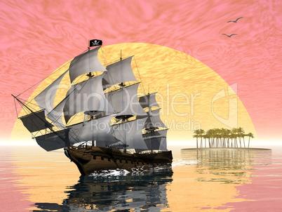 Pirate ship leaving - 3D render
