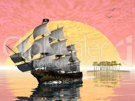 Pirate ship leaving - 3D render