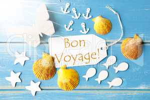 Sunny Summer Greeting Card With Bon Voyage Means Good Trip