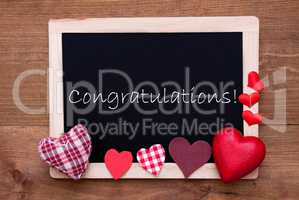 Blackboard With Textile Hearts, Text Congratulations