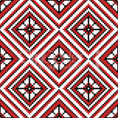 Ethnic Ukrainian broidery in red and black