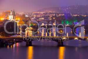Famous Bridges of Prague in the Evening
