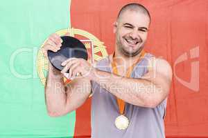 Athlete with olympic gold medal