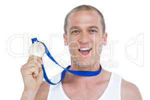 Close-up of athlete with olympic medal