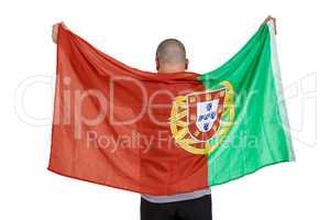 Athlete with portugal national flag