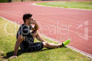 Athlete talking on the phone