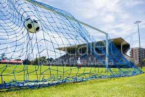 Football hitting the back of net