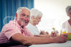 Pensioners at lunch