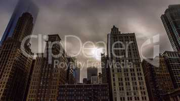 Chicago Skyscrapers With Foggy Sky