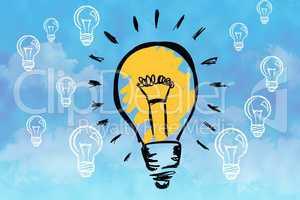 Composite image of drawn light bulb