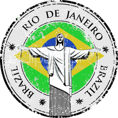Rio theme stamp with statue of the Christ the Redeemer vector illustration