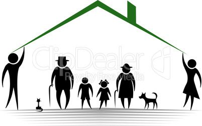 People silhouette family icon. Person vector woman, man. Child, granfather, grandmother, dog, cat, babby buggy, carriage. Generation illustration.