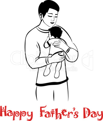 Dad and child in lovely hug. Fathers day card. Happy young man holding baby, vector isolated on white.